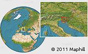 Satellite Location Map of Idrija