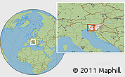 Savanna Style Location Map of Idrija, highlighted country