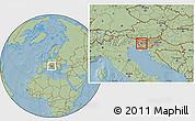 Savanna Style Location Map of Idrija, hill shading