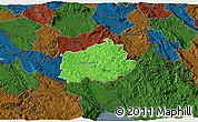Political 3D Map of Ilirska Bistrica, darken