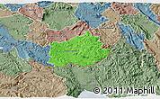Political 3D Map of Ilirska Bistrica, semi-desaturated