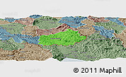 Political Panoramic Map of Ilirska Bistrica, semi-desaturated