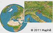 Satellite Location Map of Izola