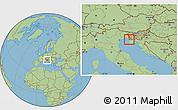 Savanna Style Location Map of Izola