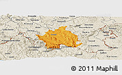 Political Panoramic Map of Kocevje, shaded relief outside