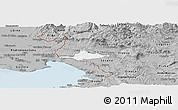 Gray Panoramic Map of Komen