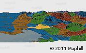 Political Panoramic Map of Komen, darken
