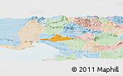 Political Panoramic Map of Komen, lighten