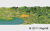 Political Panoramic Map of Komen, satellite outside