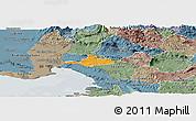 Political Panoramic Map of Komen, semi-desaturated