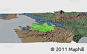 Political Panoramic Map of Koper, darken, semi-desaturated