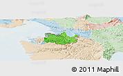 Political Panoramic Map of Koper, lighten
