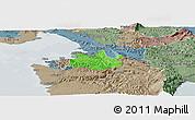 Political Panoramic Map of Koper, semi-desaturated