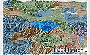 Political 3D Map of Kranjska Gora, semi-desaturated
