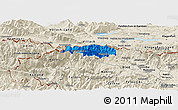 Political Panoramic Map of Kranjska Gora, shaded relief outside