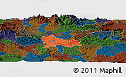Political Panoramic Map of Ljubljana, darken