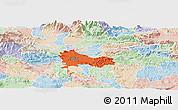 Political Panoramic Map of Ljubljana, lighten