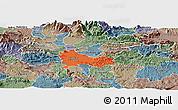 Political Panoramic Map of Ljubljana, semi-desaturated