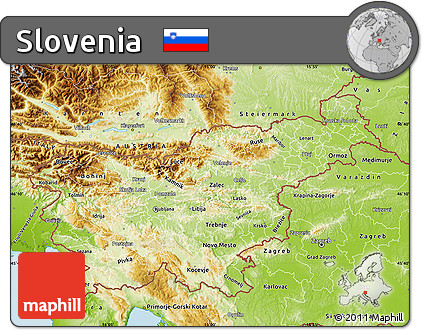 Free Physical Map of Slovenia