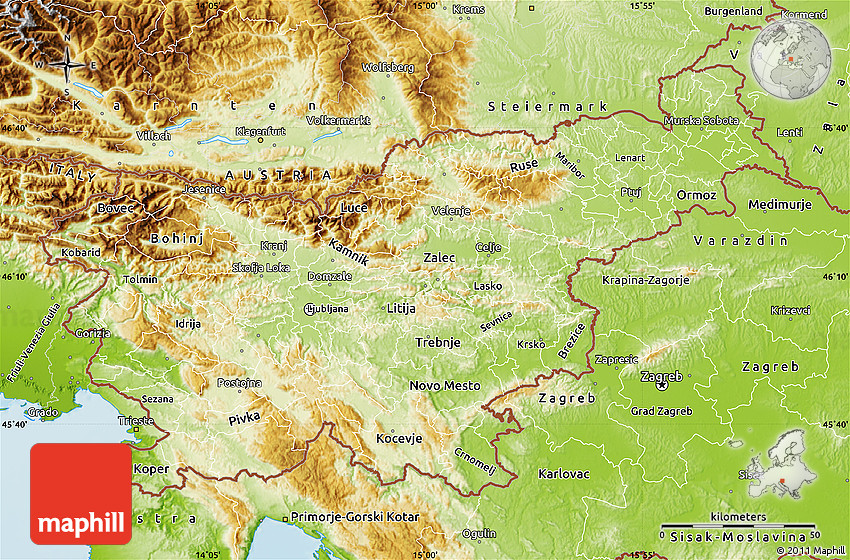 Physical Map of Slovenia