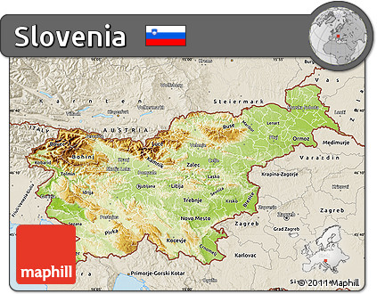Free Physical Map of Slovenia shaded relief outside
