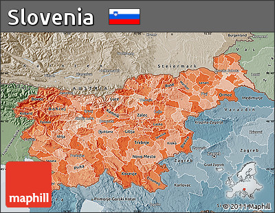 Political Shades Map of Slovenia, semi-desaturated