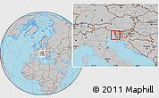 Gray Location Map of Miren-Kostanjevica
