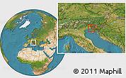 Satellite Location Map of Miren-Kostanjevica