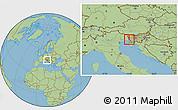 Savanna Style Location Map of Miren-Kostanjevica
