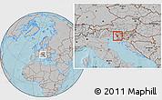 Gray Location Map of Nova Gorica, hill shading