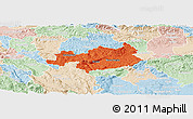 Political Panoramic Map of Novo Mesto, lighten