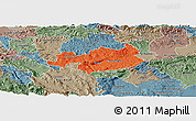 Political Panoramic Map of Novo Mesto, semi-desaturated