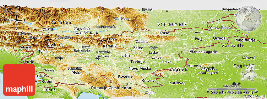 Physical Panoramic Map of Slovenia