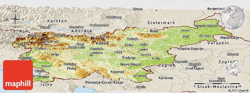 Physical Panoramic Map of Slovenia shaded relief outside