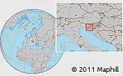 Gray Location Map of Postojna