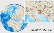 Shaded Relief Location Map of Postojna
