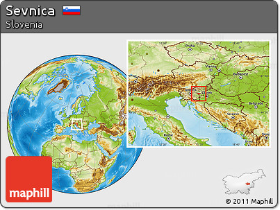 Free Physical Location Map Of Sevnica - Where is slovenia