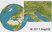 Satellite Location Map of Sezana