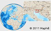 Shaded Relief Location Map of Sezana