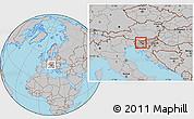 Gray Location Map of Skofja Loka