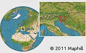 Satellite Location Map of Skofljica