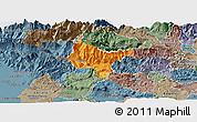 Political Panoramic Map of Tolmin, semi-desaturated