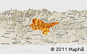 Political Panoramic Map of Tolmin, shaded relief outside