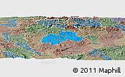 Political Panoramic Map of Trebnje, semi-desaturated