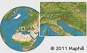 Satellite Location Map of Vipava