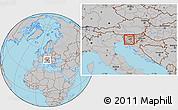 Gray Location Map of Vrhnika