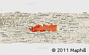 Political Panoramic Map of Zalec, shaded relief outside