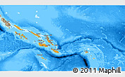 Political Shades 3D Map of Solomon Islands, semi-desaturated, land only