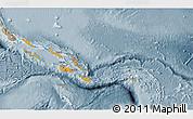 Political Shades 3D Map of Solomon Islands, semi-desaturated