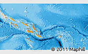 Political Shades 3D Map of Solomon Islands, shaded relief outside, bathymetry sea
